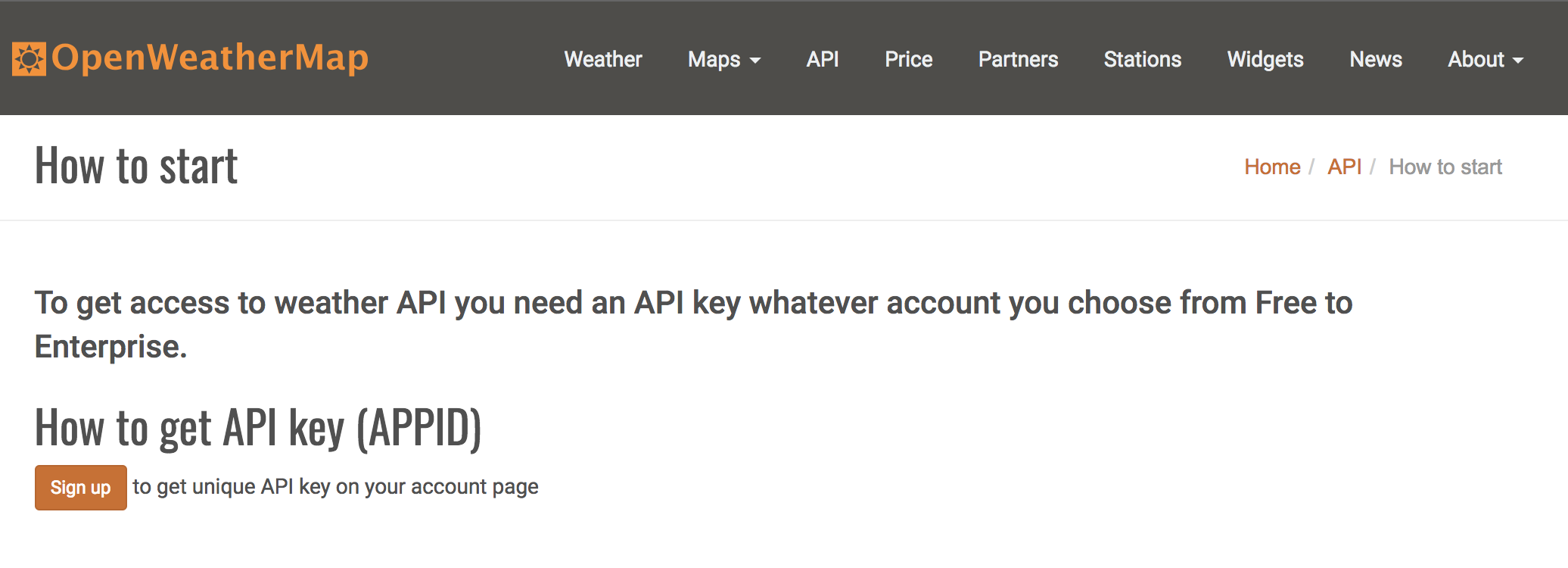 OpenWeatherMap API how to start