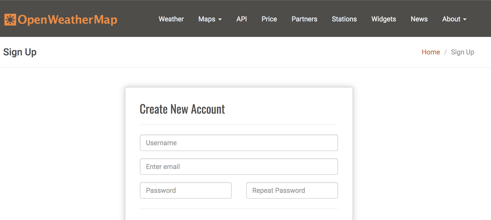 OpenWeatherMap API Signup Form